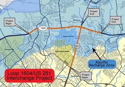 Map of Loop 1604/US 281 Interchange Project